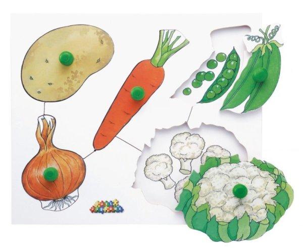 画像1: ノブ付パズル・野菜 (1)